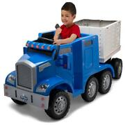 Semi Truck Removable Trailer Ride On Toy 12 Volt Rechargeable Battery Blue Rig