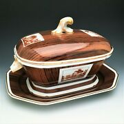Mottahedeh Niderviller Wood Grain Trompe L'oeil Soup Tureen And Under Plate