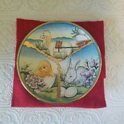 Easter Plate V Tiziano 1976 Hand Painted And Etched Italy Chick Rabbit And Lamb