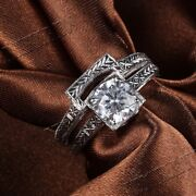 Solid 14k White Gold Vintage Antique 8mm Flawless Cubic Zirconia Fine Ring Sets