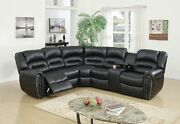 Stylish Ultra Plush Modern Black Bonded Leather 3p Motion Sectional Wide Seating