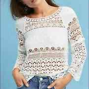 Anthropologie Lace Crochet Top White Size Small Womens Deletta Shirt S