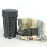 Us Army Wwii Fogpruf Paste For Gas Masks Tin With Tube Partial Chamois 1940s Vtg