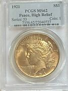1921 Peace Silver Dollar Pcgs Ms62 High Relief Key Date - Nice Coin