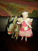 Antique Miniature Hertwig Bisque Doll With Wind Up Donkey Toy