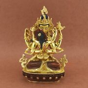 Hand Carved Gold Gilded Chenrezig Shakti Copper Statue From Patan, Nepal