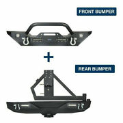 Mid Length Front + Rear Bumper Combo W/ Tire Carrier For 07-18 Jeep Wrangler Jk