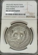 Mongolia 2007 500 Togrog 1 Oz Silver Wolverine Gulo Ngc Ms69 Antique Finish Coin