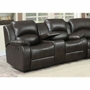 Samara Transitional Reclining Loveseat With Storage Console Brown Transitional