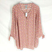 New Catherines Blouse Plus Size 2x 22/24w Ge Design Lightweight Summer Nwt