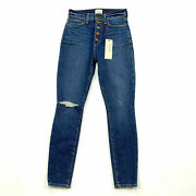 Alice + Olivia Ao.la Good High Rise Exposed Button Time Flys Jeans 25 Ripped