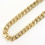 18k Yellow Gold Necklace About50cm Curb Chain 8side Free Shipping Used