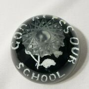 Vintage Millville Paperweight God Bless Our School Rare 3 Etched Star Top Black