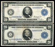 2 Consecutive Fr. 989 1914 20 Federal Reserve Notes Chicagoil Burke/glass Xf