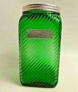 Owens Illinois Green Depression Glass Cereal Canister Jar Hoosier Cabinet Lid 7