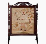 """Antique Carved Needlepoint Fire Screen 19th C Oak Victorian Dog Walk 49""""h 28.5""""w"""