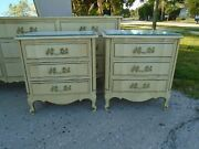 Pair French Country Nightstands 2 Italian Provincial Regency Louis Xvii 3 Drawer