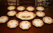 Antique Limoges Coiffe Hand Painted Platter And 11 Plates Dinner Set, Birds Game