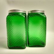 2 Owens Illinois Green Depression Glass Canister Jar Hoosier Cabinet Lid 7