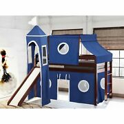Jackpot And Princess Low Loft Twin Bed With Slide, Tent Cherry With Blue And