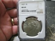 1927 Us Peace Silver Dollar Ngc Ms 64 Uncirculated Condition