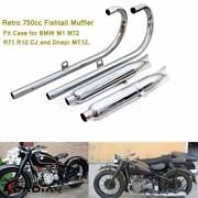 Chrome Fishtail Exhaust Mufflers Pipes Silencer 24hp For Bmw M72 R71 Dnepr Mt12