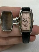Rare Vintage Mickey Mouse Seiko 4n00-6859 Tank Character Flip Cover Ladies Watch