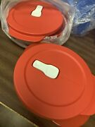 Tupperware Microwave Crystalwave Bowls Container 2 1/2 Cups Round Set Of 2 Red