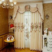 European Curtains Chenille Embroidery Floral Valance Tulle Sheer Home Decoration