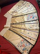 Antique Late 19th C Qi'ing Dynasty Chinese Embroidered Silk Skirt Embroidery 3