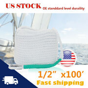 1/2 In X 100ft Three Twisted Dock Lines Docking Mooring Strand Boat Dock Rope