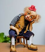 Art Doll Clown, Size 7.8 Collectible Dolls, High Quality Handmade Interior Doll