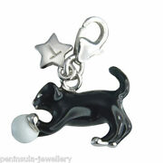 Tingle Sterling Silver Charm Clip On Cat Kitten And Ball With Gift Bag And Box