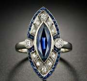 Vintage Art Deco Ring 1.05 Ct Blue Marquise Cut Sapphire And Diamond Gifts Ring