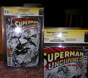 Superman Unchained 1 Cgc 9.8 Ss Signature Sign Lee Sketch Snyder 1300 Variant