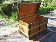 Antique Steamer Trunk Stage Coach Chest Restored Flat Top Natural Interior 1800s