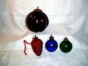 Antique Lot Of 4 Heavy Thick Glass Kugel Christmas /holiday Ornaments