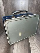 Vintage American Thermos Bottle Co Blue Gray Distressed Prop Lunch Box 50s 60s