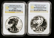 2013 W Silver Eagle Two Coin Set Enhanced And Reverse Proof Ngc Pf 69 And Sp 69
