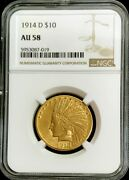 1914 D Gold United States 10 Indian Head Eagle Coin Ngc About Unc 58