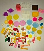 Vintage Barbie Doll 80s 90s 76 Pc Lot Kitchen Food Dishes
