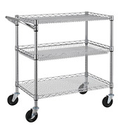 Finnhomy 3 Tier Heavy Duty Commercial Grade Utility Cart Wire Rolling Cart With