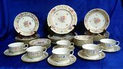 Eschenbach 7 Piece Place Setting For 6 Floral Border And Ctr, Gold Filigree A549
