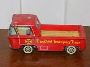 Vintage Tin Friction Fire Chief Emergency Truck Japan