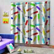 Short Crayons With Complete Colors Printing 3d Blockout Curtains Fabric Window