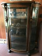 Antique Oak Wood And Curved Glass China Cabinet, Curio, Plates Display, Key