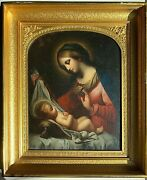 Antique Virgin Mary And Baby Jesus Madonna Del Velo After 17th Century Old Master