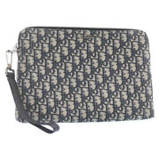 Christian Dior Trotter Canvas A5 Clutch Bag Pouch Navy Blue Auth 23430