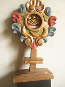 Carved Reliquary In Wood .polychromes. S.maria Magdalena Penitente 26 Cms