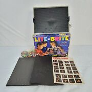 Vtg 1967 Lite Brite Light Bright Hasbro Toy W/ Used And Unused Sheets And Glow Pegs